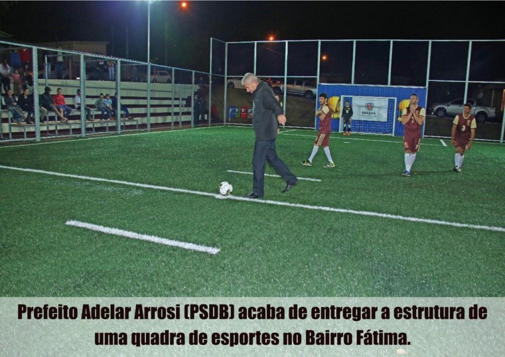 Adelar Arrosi inaugura quadra de esportes no bairro Fátima